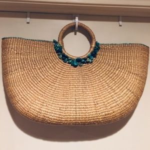 Tommy Bahama Woven/Turquoise Accent Tote Bag